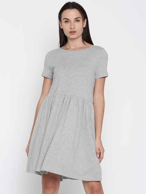 French Connection Women Grey Solid Fit & Flare Dress