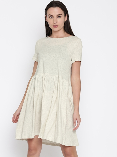 French Connection Women Grey Melange Solid Fit & Flare Dress