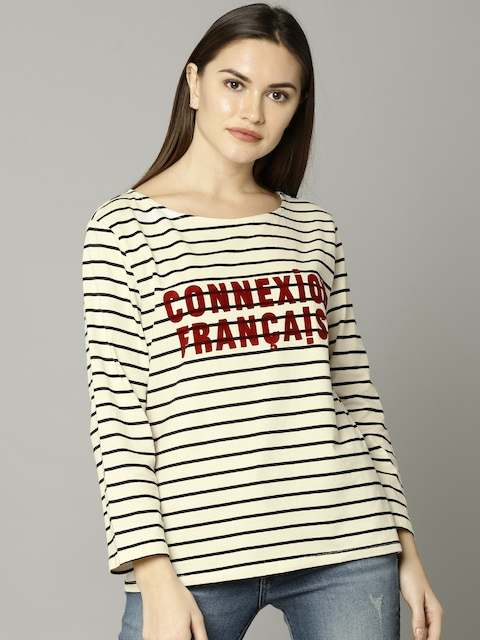 French Connection Women Cream-Coloured Striped Round Neck T-shirt