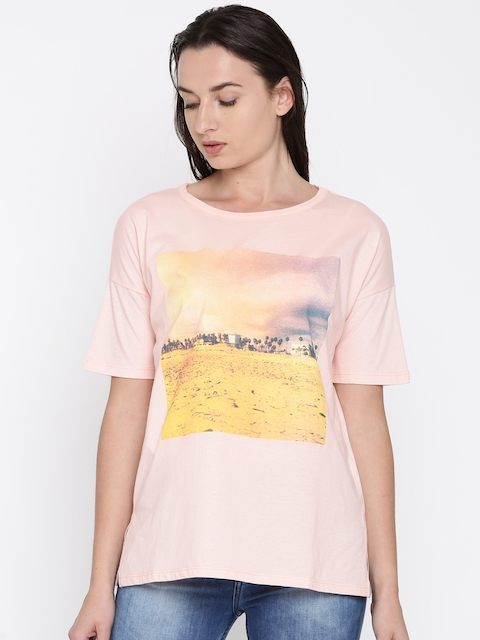 French Connection Women Peach Printed Round Neck T-shirt