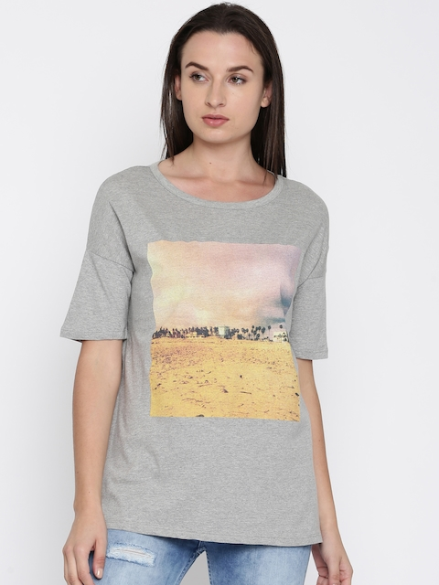 French Connection Women Grey Melange Printed T-shirt