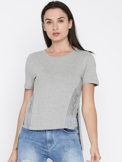 French Connection Women Grey Melange Solid High-Low Top