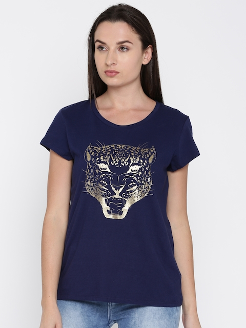French Connection Women Navy Blue Printed Round Neck T-shirt