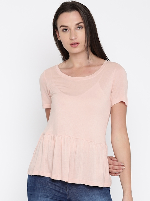 French Connection Women Peach-Coloured Solid Peplum Top
