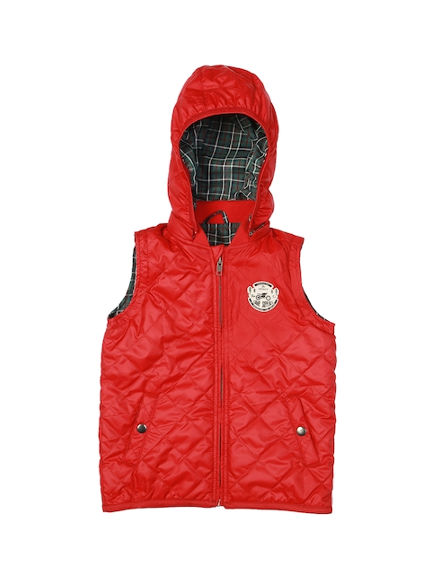 Allen Solly Junior Boys Red Solid Open Front Jacket