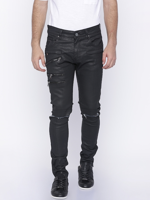 883 Police Men Black Skinny Fit Mid-Rise Slash Knee Jeans