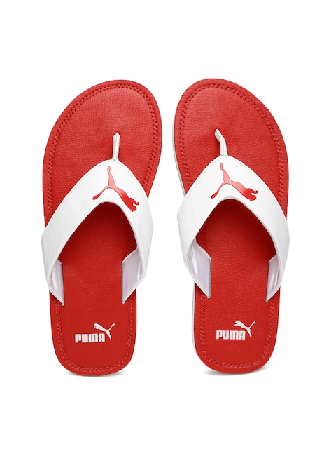 Puma Men White & Red Flash Flip-Flops