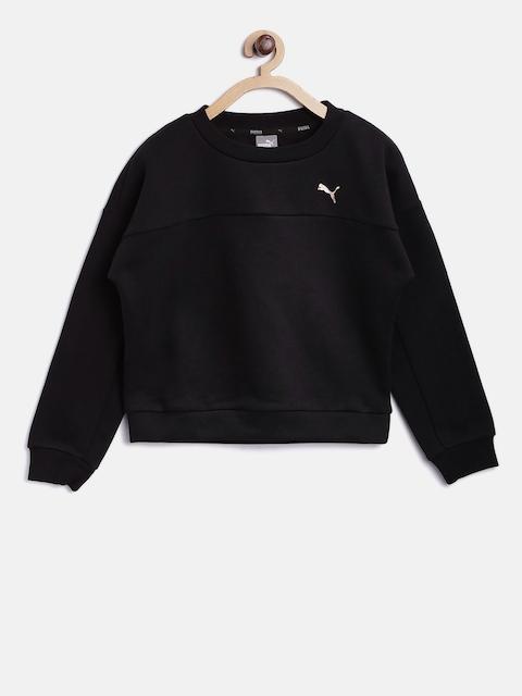 Puma Girls Black Style Crew Solid Sweatshirt