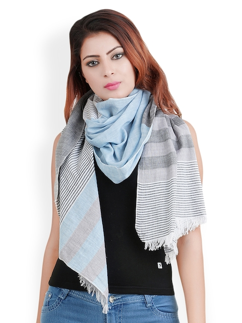 Anekaant Women Blue & Grey Striped Stole