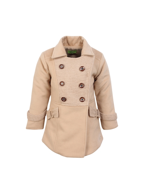 CUTECUMBER Girls Beige Solid Quilted Jacket