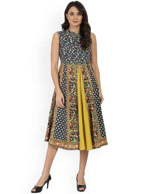Nayo Women Blue & Yellow Printed Anarkali Kurta Dress