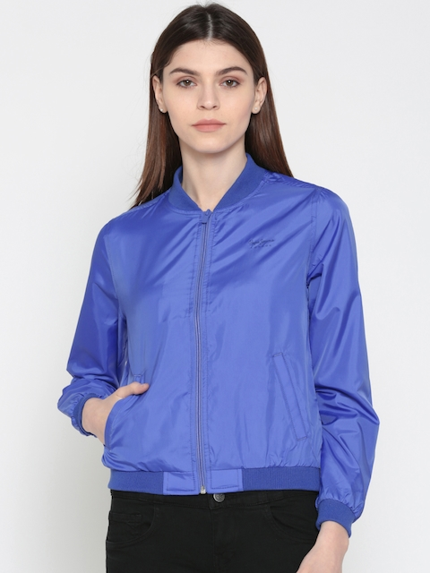 Pepe Jeans Women Blue Solid Bomber Jacket