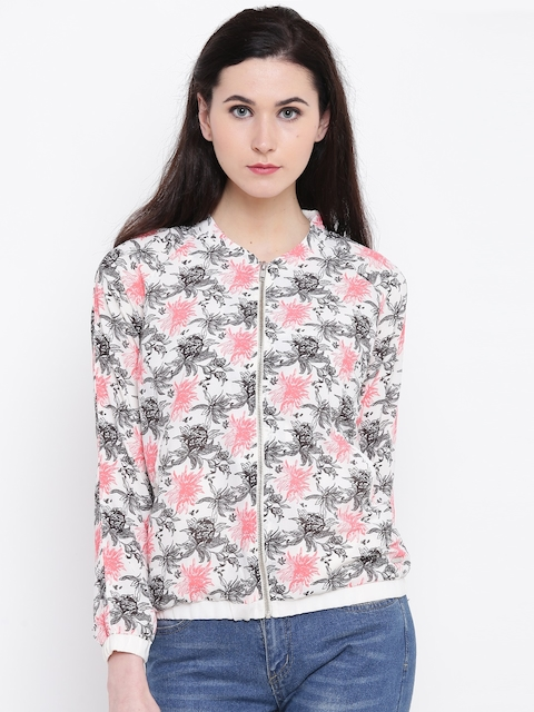 Pepe Jeans Women Off-White Printed Bomber Jacket