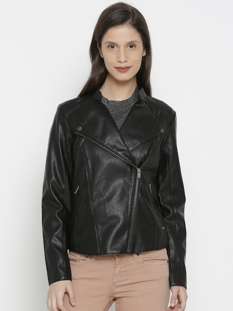 Pepe Jeans Women Black Solid Biker Jacket
