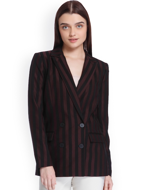 Vero Moda Black & Burgundy Double-Breasted Blazer