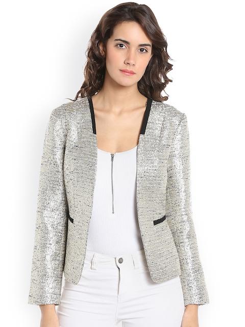 Vero Moda Women Beige & Gold Self Design Open Front Jacket