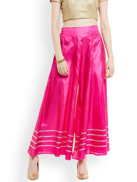PANIT Women Pink Solid Silk Flared Palazzos
