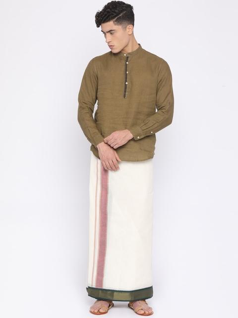 Darpanas Fashions Cream Solid Readymade Dhoti