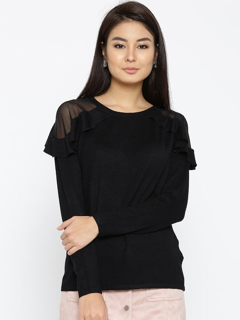 ONLY Women Black Solid Ruffled Sweater
