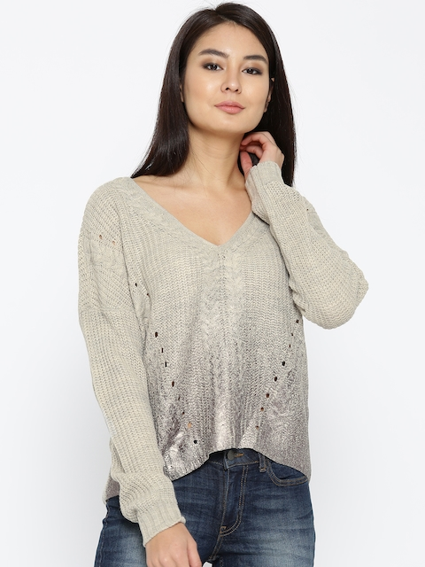 ONLY Women Beige Self-Design Sweater
