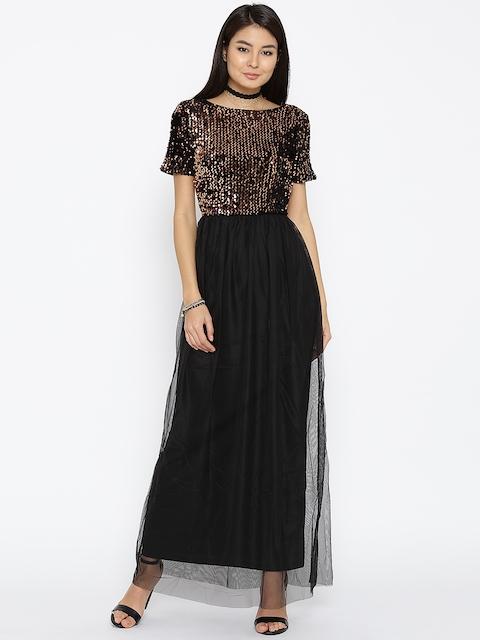 ONLY Women Black Sequinned Detail Maxi Dress