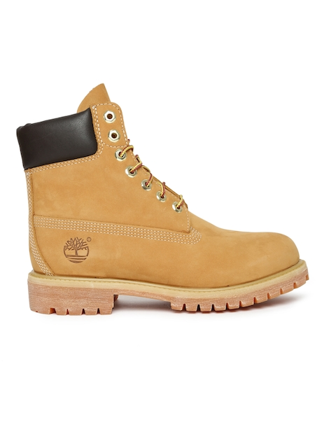 Timberland Men Tan Brown Solid Suede High-Top Flat Boots