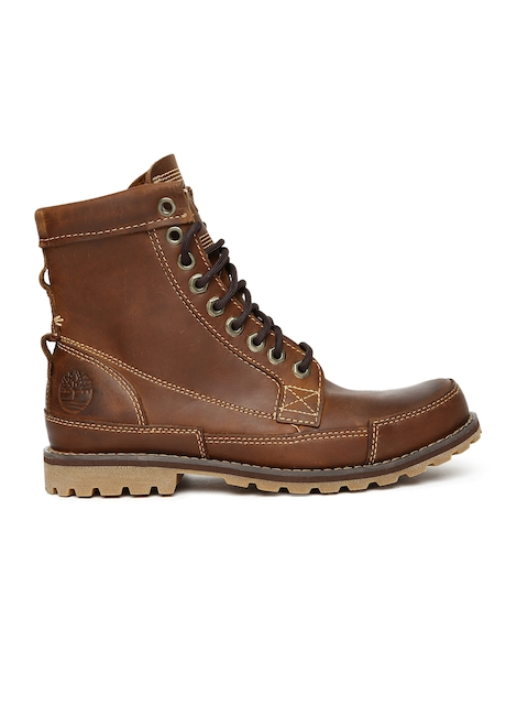 Timberland Men Brown Solid Leather High-Top Flat Boots