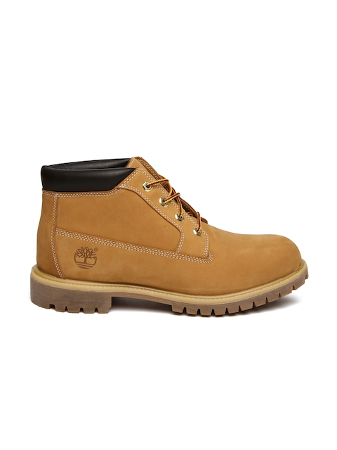 Timberland Men Tan Brown HERITAGE Leather Mid-Top Flat Boots