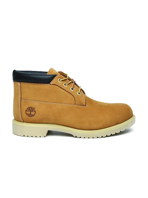 Timberland Men Tan Brown WP CHUKKA Leather Mid-Top Flat Boots