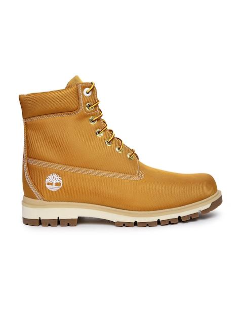 Timberland Men Mustard Yellow RADFORD Canvas High-Top Flat Boots