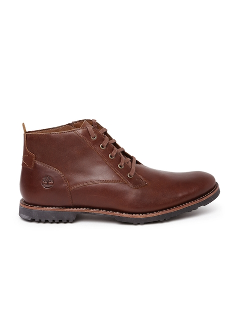 Timberland Men Brown Solid Leather Mid-Top Kendrick Flat Boots