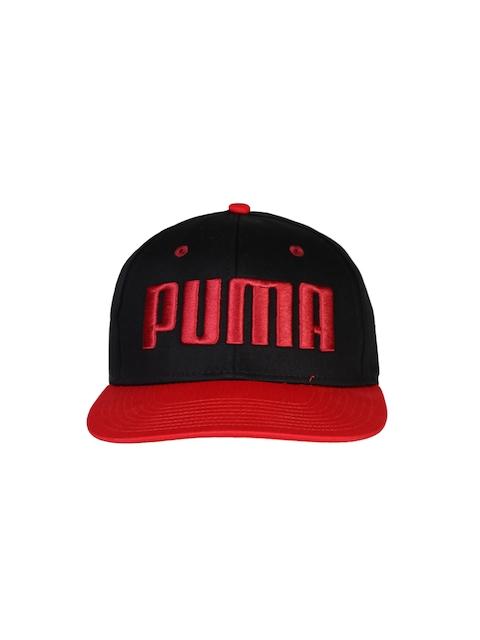 PUMA Unisex Black & Red ESS Flatbrim Cap