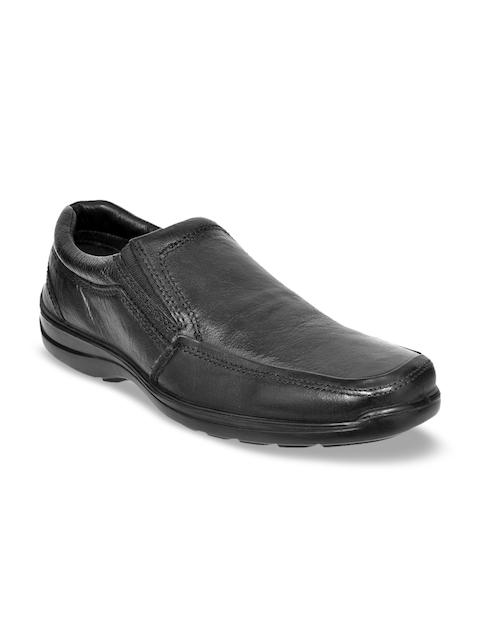 Allen Cooper Men Black Leather Semi-formal Slip-ons