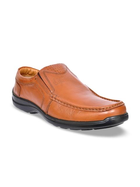 Allen Cooper Men Tan Leather Semi-formal Slip-ons