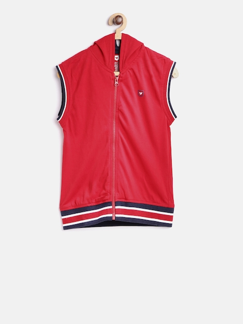 612 league Boys Red Solid Tailored Jacket