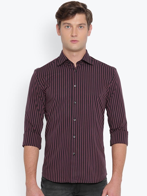 Parx Men Black & Pink Slim Fit Striped Casual Shirt