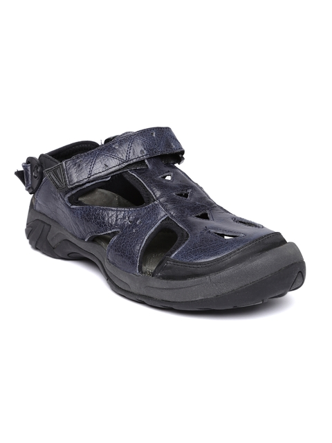 Woodland Men Navy Leather Shoe-Style Sandals