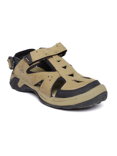 Woodland Men Khaki Leather Shoe-Style Sandals