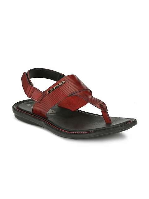 Alberto Torresi Men Red Comfort Leather Sandals
