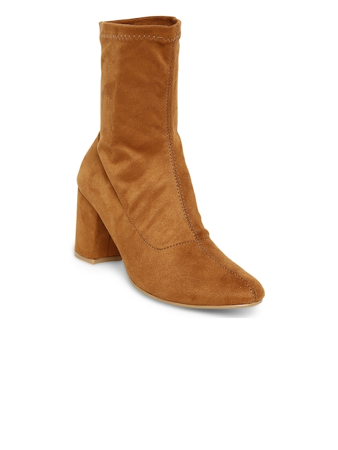 Flat n Heels Women Tan Solid Heeled Boots