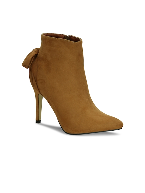 Get Glamr Women Tan Solid Heeled Boots