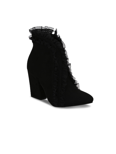 Get Glamr Women Black Solid Heeled Boots