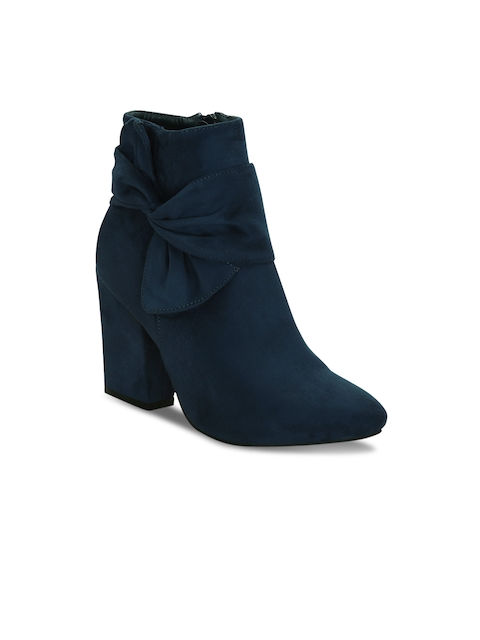 Get Glamr Women Blue Solid Heeled Boots