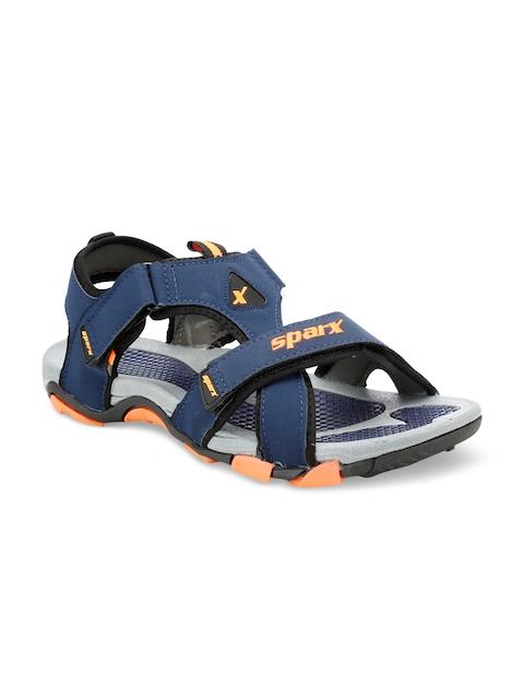 Sparx Men Navy Blue & Orange Comfort Sandals