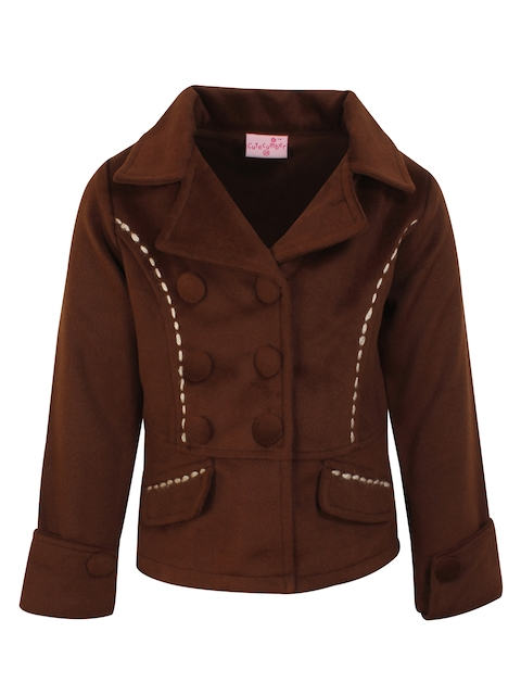 CUTECUMBER Girls Brown Double Breasted Short Coat