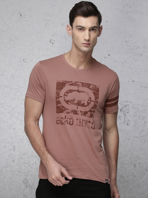 Ecko Unltd Men Rust Printed Round Neck T-shirt