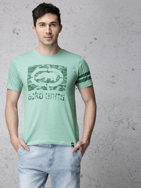 Ecko Unltd Men Blue Printed Round Neck T-shirt