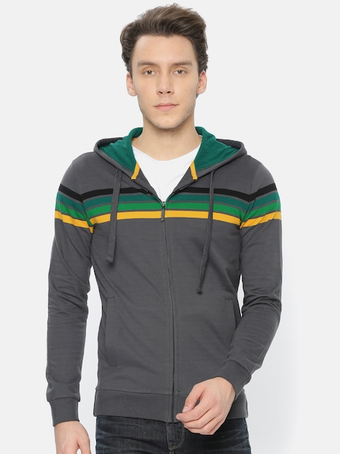 United Colors of Benetton Men Grey Striped Hooded Sweatshirt
