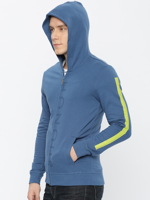 United Colors of Benetton Men Blue Solid Hooded Sweatshirt