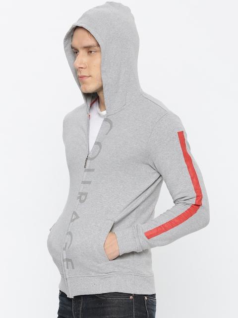 United Colors of Benetton Men Grey Melange Printed Hooded Sweatshirt